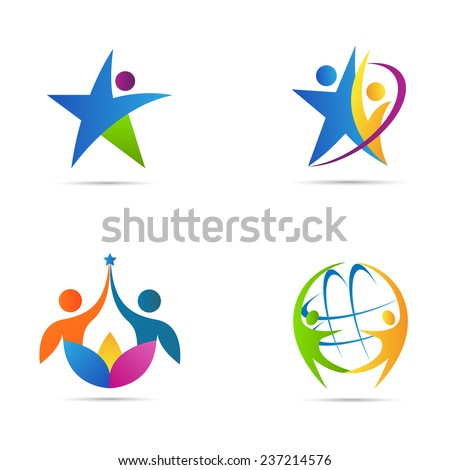 People logos vector design represents fitness, success, signs and symbols. - stock vector