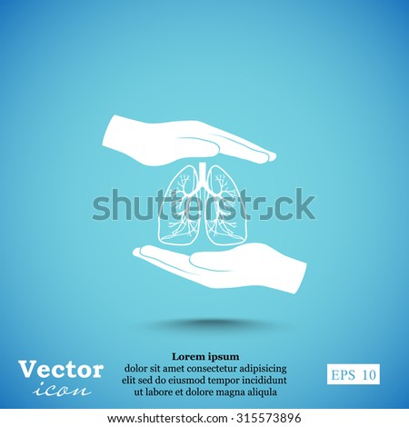People lungs and hand protection  icon - stock vector