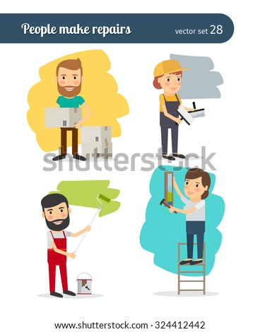 People make repairs in the apartments. Painting and plaster of walls, wallpapering and replan - stock vector