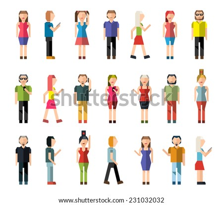 People male and female pixel avatar group decorative icons set isolated vector illustration