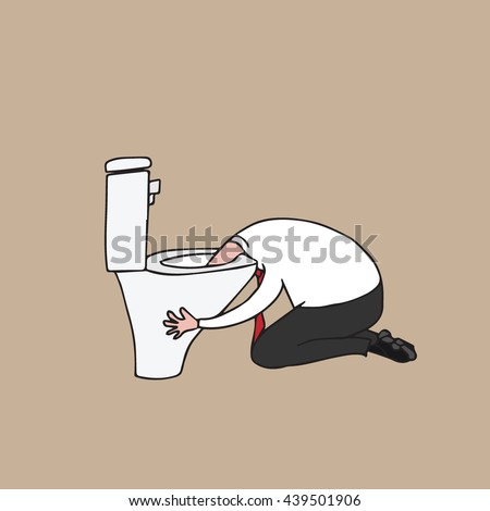 People man puking in toilet cartoon drawing - stock vector