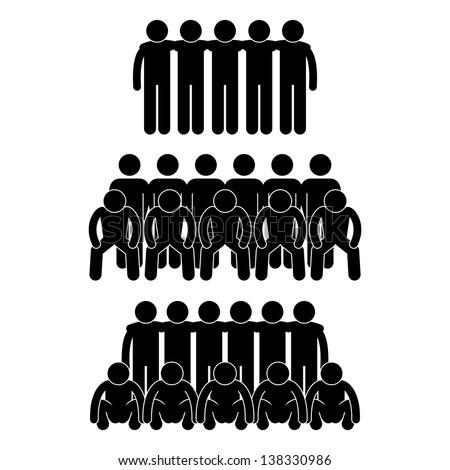 People Man Team Group Teammate Teamwork Partner United Stick Figure Pictogram Icon - stock vector