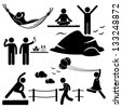 People Man Woman Healthy Living Relaxing Wellness Lifestyle Stick Figure Pictogram Icon - stock vector