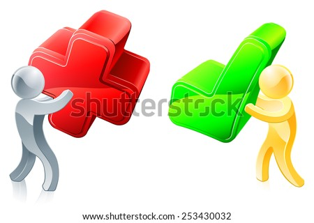 People mascots with X and tick icons, opinion concept - stock vector