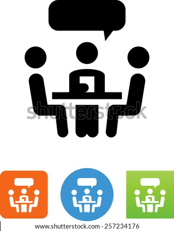 People meeting around a table - symbol for download. Vector icons for video, mobile apps, Web sites and print projects.  - stock vector