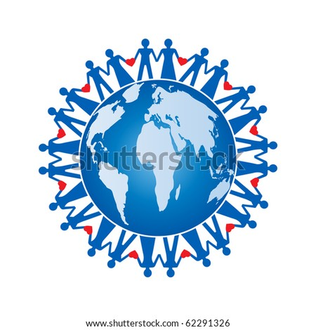 people- men -women -hearts - planet concept (all separate elements) - stock vector