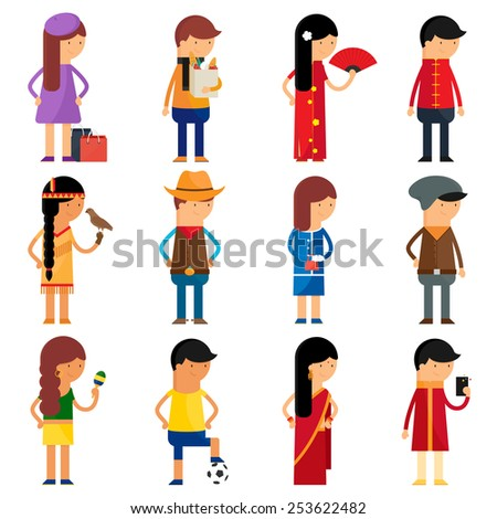 People nationality vector character set  - stock vector