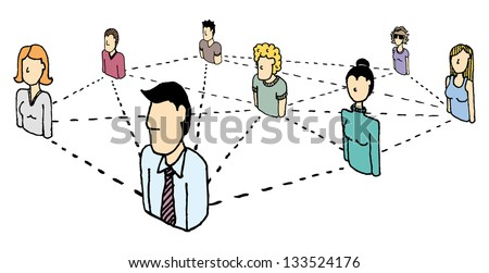 People Network / Social and business connections - stock vector