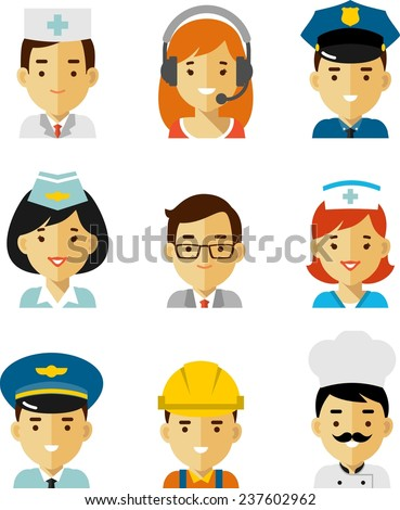 People occupation avatar set in flat style. Avatars of different people professions characters  - stock vector