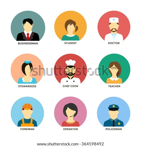 People occupation avatar set in flat style. Avatars of different people professions characters. Chef cook, businessman, operator, teacher, student,  doctor, stewardess, foreman, policeman avatars. - stock vector