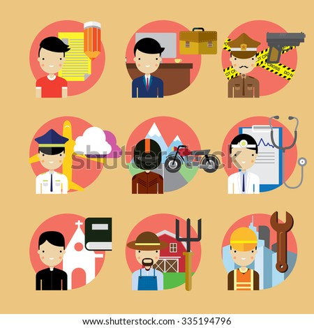 People occupation characters set in flat style - stock vector