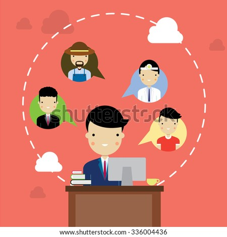 People occupation social network flat style - stock vector