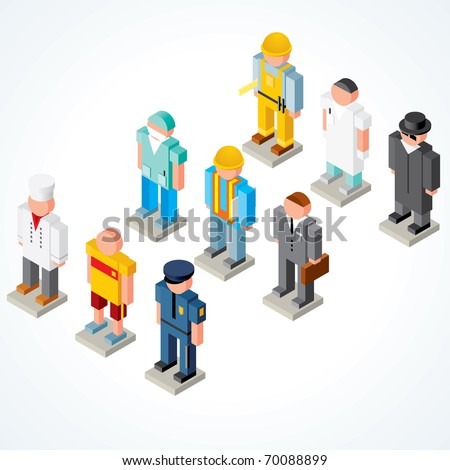 People Occupations vector icons - set of Isometric puppets of chef, athlete, policeman, surgeon,  builder, businessman, engineer, scientist and spy - stock vector