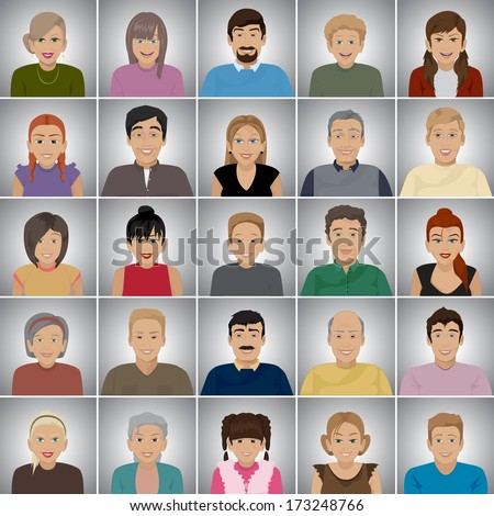 People Of Different Ages - Isolated On Gray Background - Vector Illustration, Graphic Design Editable For Your Design - stock vector