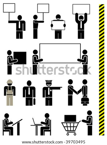People of different professions - set of stylized vector icons. Units. Isolated, icons, design elements. Yellow & black police tape - seamless. - stock vector