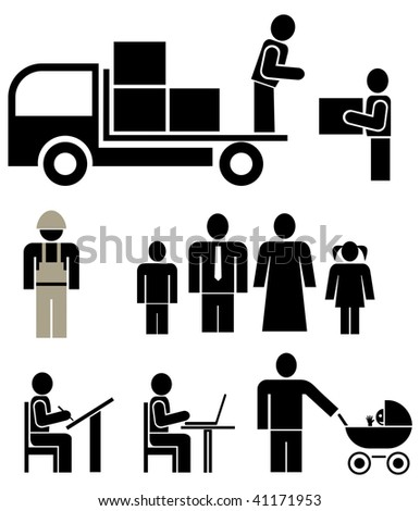 People of different professions - set of stylized vector pictogram. Family, units. Isolated, icons, design elements. Husband, wife and their children. - stock vector