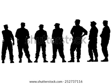 People of special police force on white background - stock vector