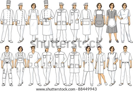 People of various specialties in white clothes - stock vector