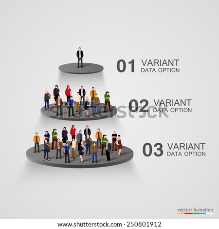 People on a pedestal in the hierarchy. Vector - stock vector