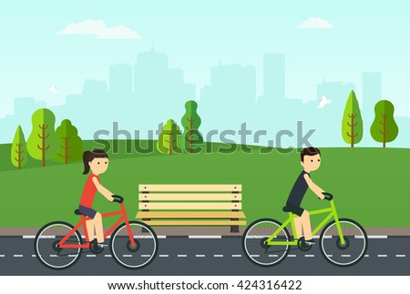 People on bikes ride in the city park. - stock vector