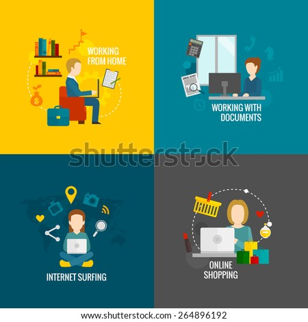 People on computer design concept set working internet surfing online shopping flat icons isolated vector illustration - stock vector