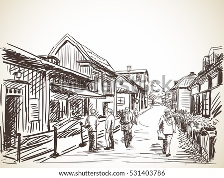 People on cozy town street, Vector sketch, Hand drawn illustration.