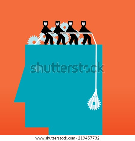 People on  head pulling a rope with a gear - stock vector