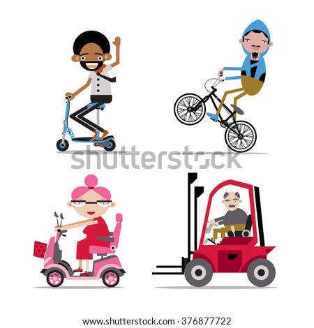 People on personal vehicles: scooter, bicycle, forklift, Mobility scooter - stock vector