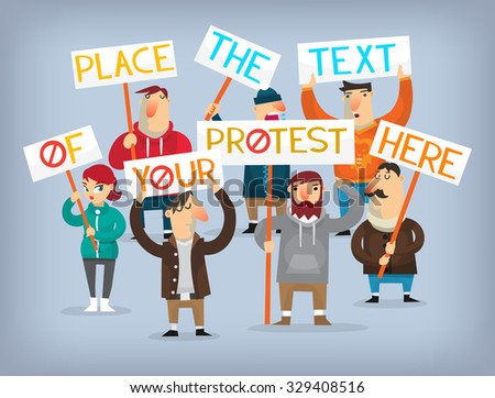 People on strike waving banners picketing and protesting against something. - stock vector