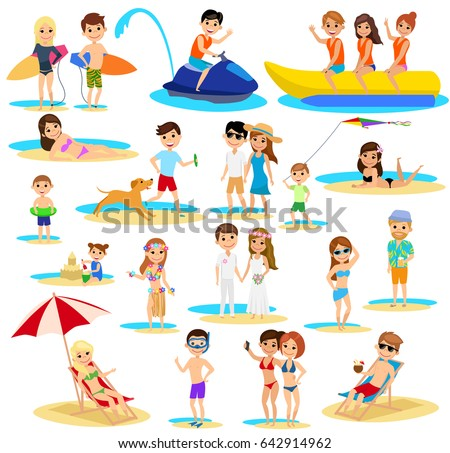 People On The Beach Set Summer Vacation Cartoon Style Isolated White