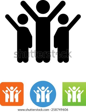 People or teammates with arms raised symbol. Editable vector icons for video, mobile apps, Web sites and print projects.  - stock vector