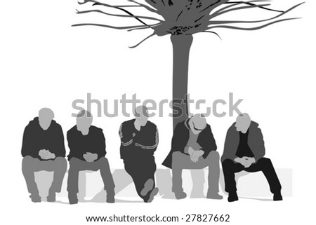 people out of  work - stock vector