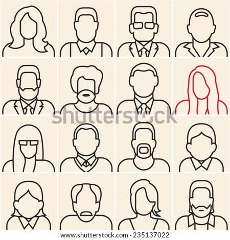 People outline silhouettes on white background. People line icons. - stock vector