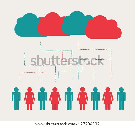 People over white background with colors cloud vector illustration - stock vector