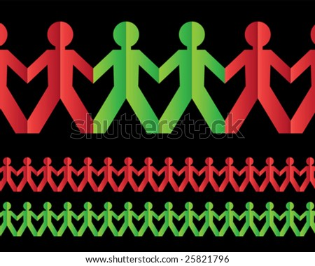 People Paper Chain - stock vector