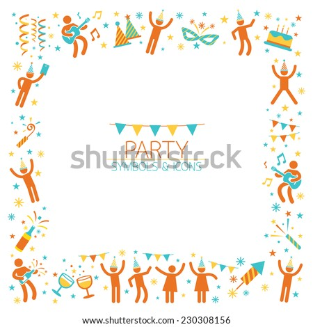 People Party Symbols Frame - stock vector
