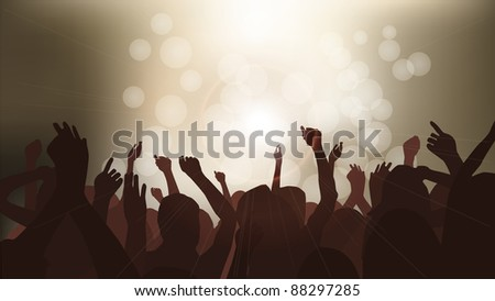 People Partying at Concert - stock vector