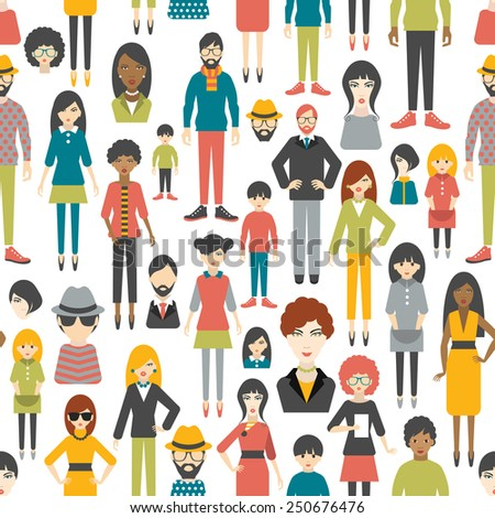 People pattern. Flat figures. Seamless background. - stock vector
