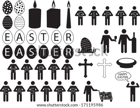 People pictogram for Easter illustrated on white