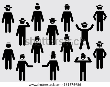 People pictograms with hats and mustache illustration set