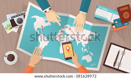 People planning a trip around the world, they are pointing on a map and using an app on a mobile phone, travel and vacations concept - stock vector
