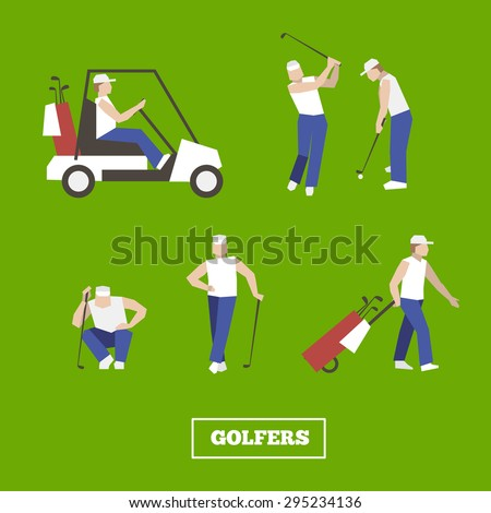 People playing Golf vector set. swing with a Golf club. golf car.  - stock vector