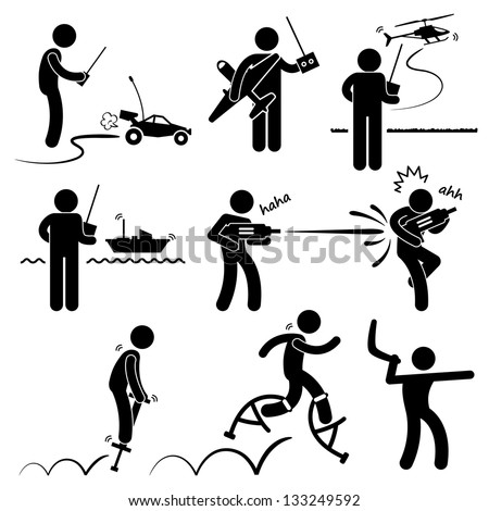 People Playing with Outdoor Toys Remote Control Car Plane Helicopter Ship Water Gun Jumper Boomerang Stick Figure Pictogram Icon - stock vector