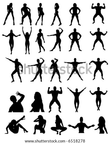People Posing Silhouettes - stock vector