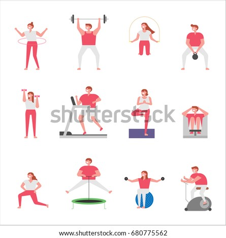 people practicing sport vector illustration flat design