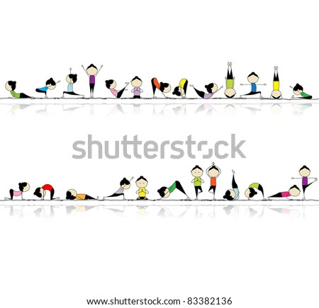 People practicing yoga, seamless background for your design - stock vector
