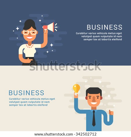 People Profession Concept. Businessman. Male and Female Cartoon Characters. Flat Design Concepts for Web Banners and Promotional Materials - stock vector