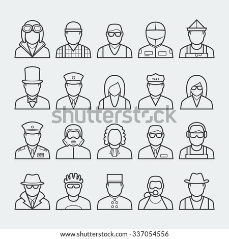 People professions and occupations icon set in thin line style #3 - stock vector
