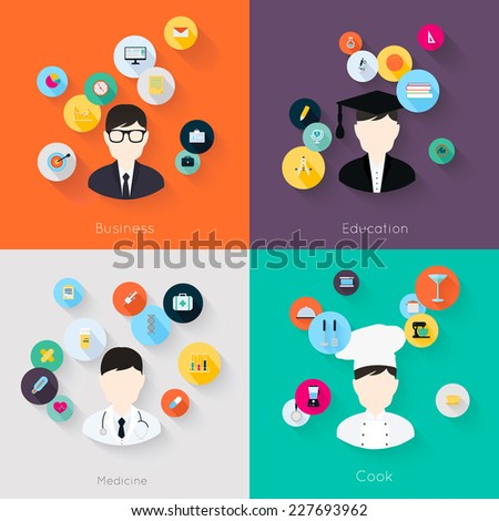 People professions concept flat icons set of cook doctor businessman and student jobs for infographics design web elements vector illustration - stock vector