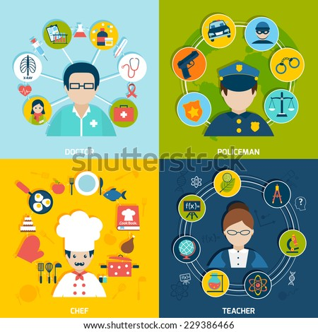 People professions flat icons set with doctor policeman chef teacher isolated vector illustration - stock vector